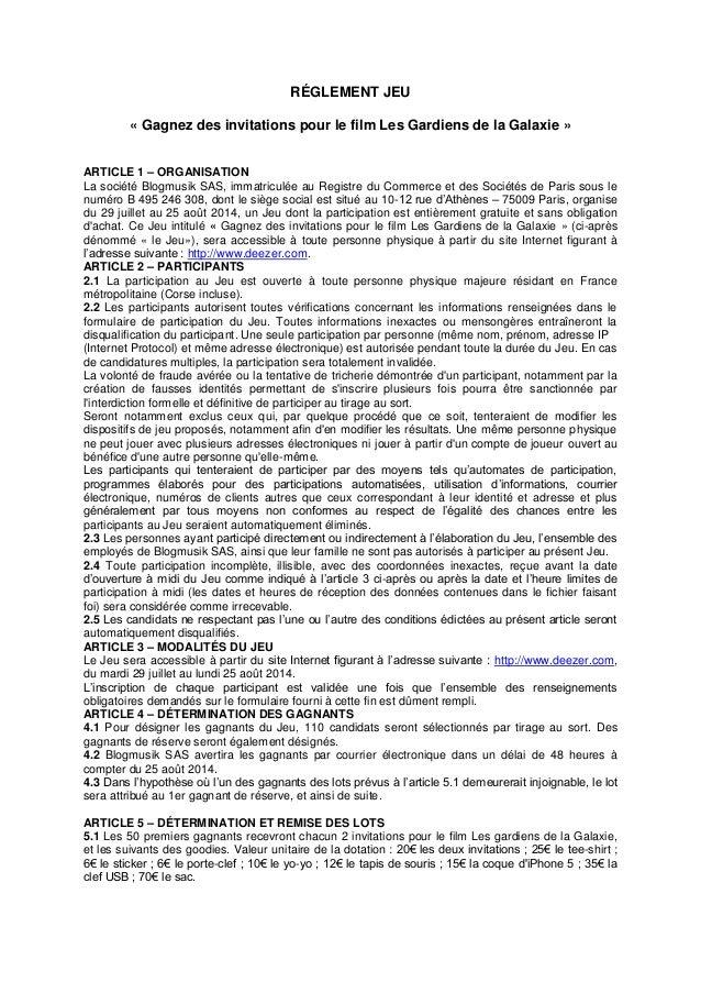 RÉGLEMENT JEU « Gagnez des invitations pour le film Les Gardiens de la Galaxie » ARTICLE 1 – ORGANISATION La société Blogm...