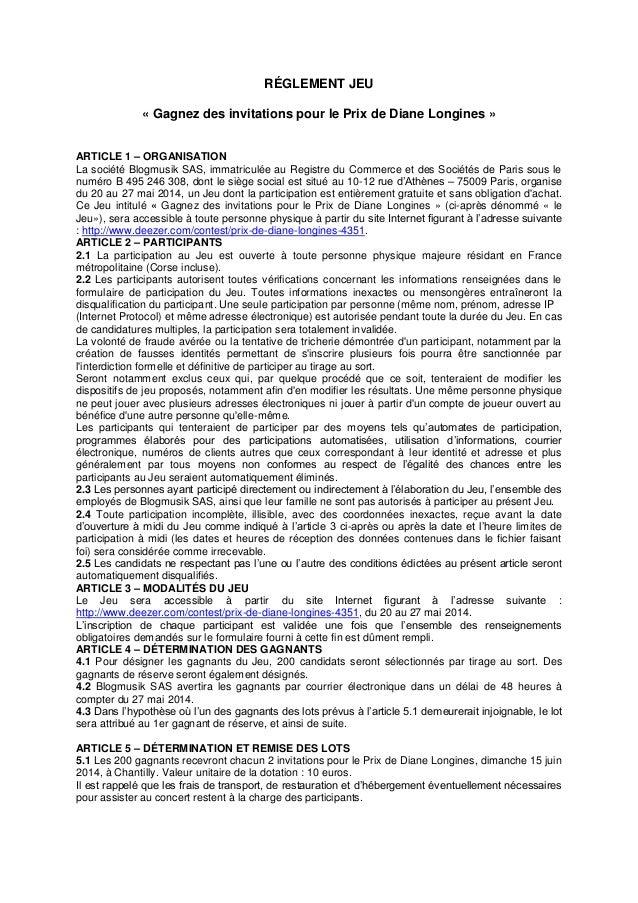 RÉGLEMENT JEU « Gagnez des invitations pour le Prix de Diane Longines » ARTICLE 1 – ORGANISATION La société Blogmusik SAS,...