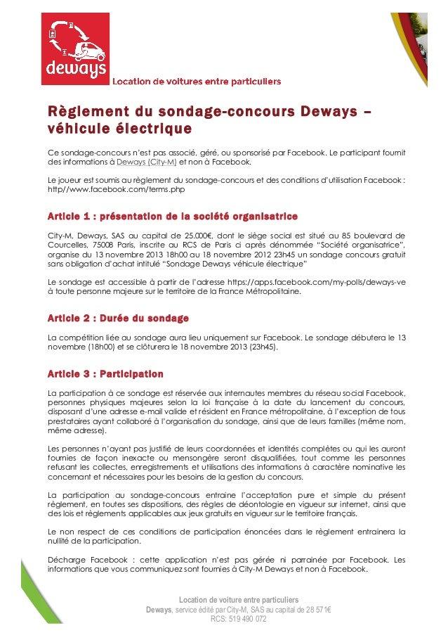 Règlement du sondage-concours Deways – véhicule électrique Ce sondage-concours n'est pas associé, géré, ou sponsorisé par ...