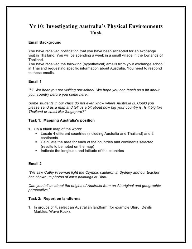 Yr 10: Investigating Australia's Physical Environments                          Task Email Background  You have received n...