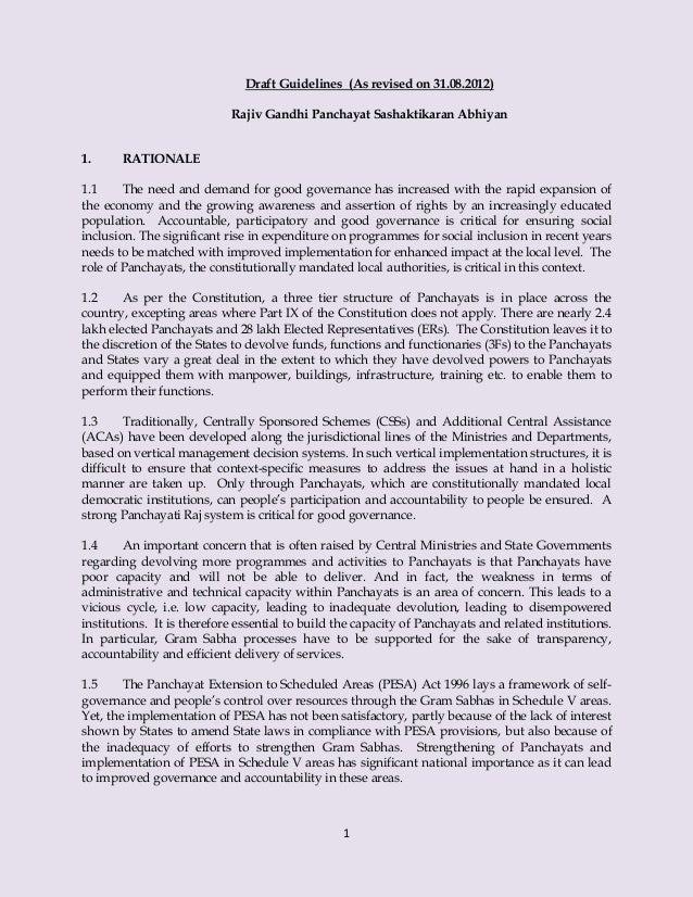 1 Draft Guidelines (As revised on 31.08.2012) Rajiv Gandhi Panchayat Sashaktikaran Abhiyan 1. RATIONALE 1.1 The need and d...