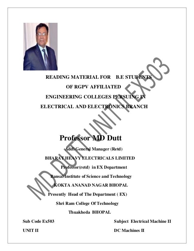 READING MATERIAL FOR B.E STUDENTS OF RGPV AFFILIATED ENGINEERING COLLEGES PERSUING IN ELECTRICAL AND ELECTRONICS BRANCH Pr...