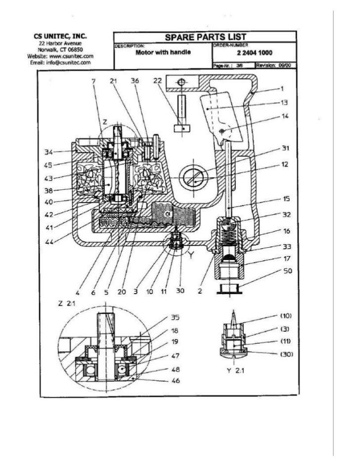 CS UNITEC                                   Rotary Hammer Motor with Handle Model 2 2404 1000 -                           ...