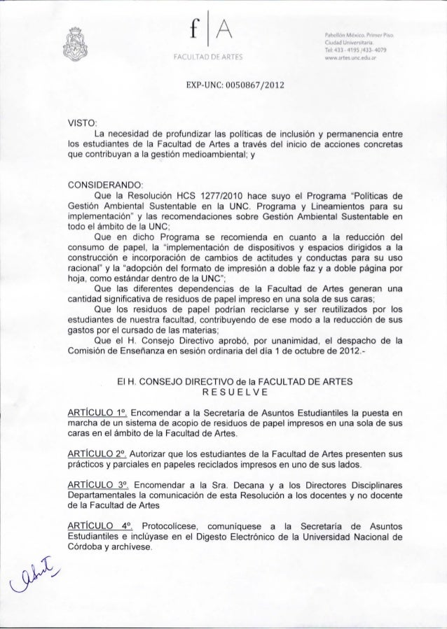 f AFACULTAD DE ARTESEXP-UNC:OOS0867j2012Pahellón México. Primer Piso.Ciudad Universitaria.Tel: 433 - 4195/433- 4079www.art...