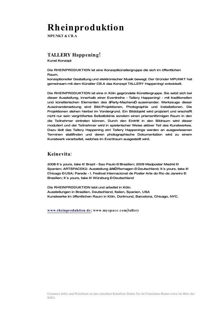 Rheinproduktion MPUNKT & CB.A     TALLERY Happening! Kunst Konzept  Die RHEINPRODUKTION ist eine Konzeptkünstlergruppe die...