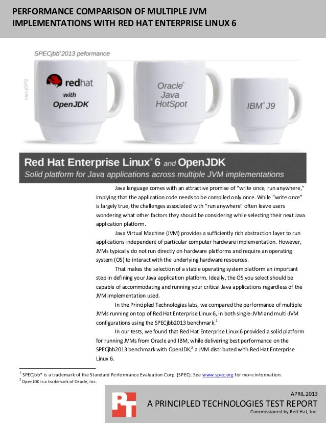 Performance comparison of multiple JVM implementations with Red Hat Enterprise Linux 6