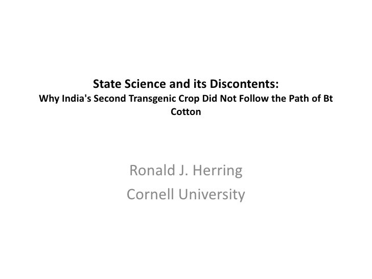 Ronald Herring: State Science and its Discontents: Why India's Second Transgenic Crop Did Not Follow the Path of Bt Cotton