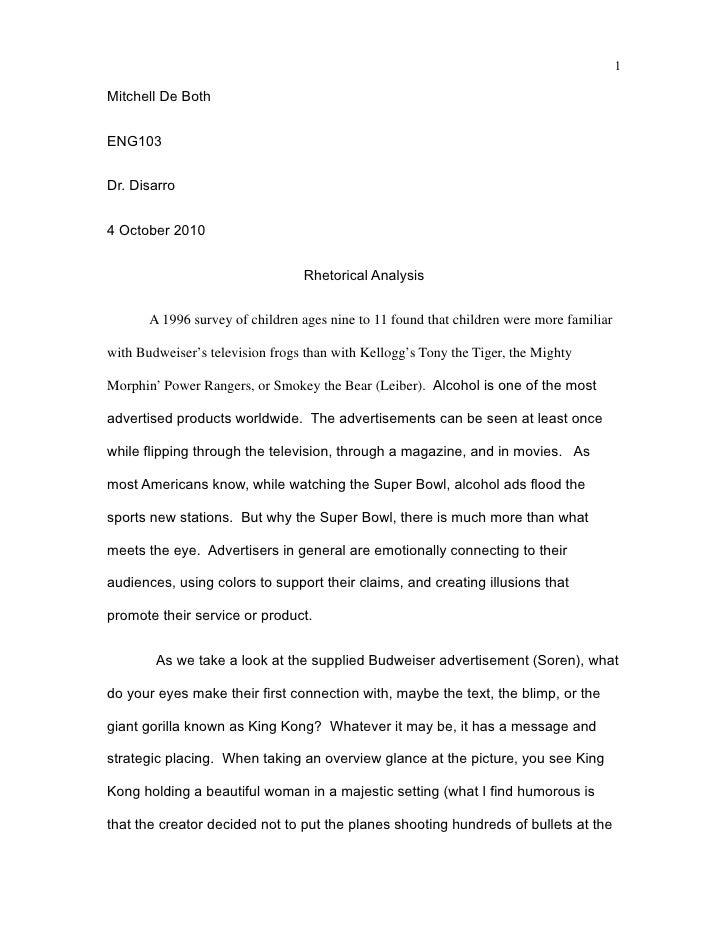 1Mitchell De BothENG103Dr. Disarro4 October 2010                                 Rhetorical Analysis       A 1996 survey o...