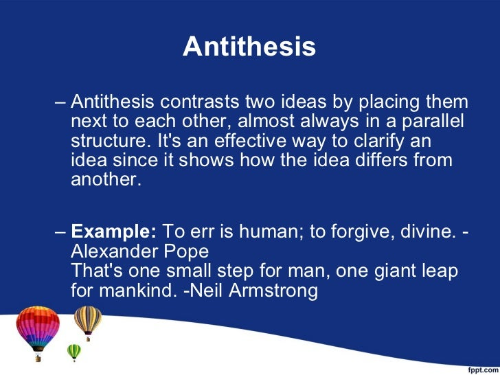 how is antithesis different from parallelism
