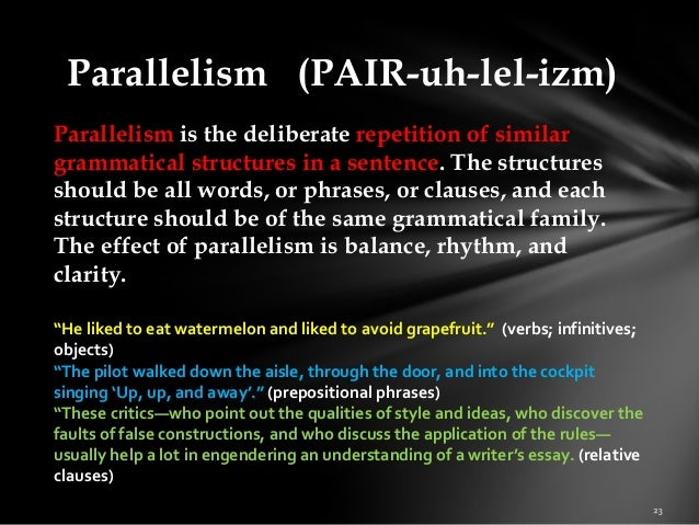 parallelism essays What is parallel structure parallelism means using the same pattern of words to show that two or more elements in the sentence have the same level.