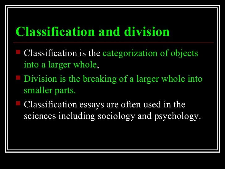 classification divison essays