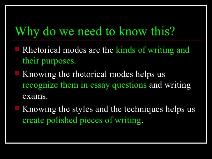 essay rhetorical modes Was reserved for defining the rhetorical modes of exposition, argumentation,  as  being monomodal is the traditional first-year-composition research essay (see.