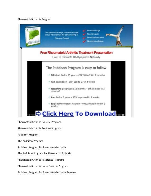 Rheumatoid arthritis exercise programs + rheumatoid arthritis treatment review