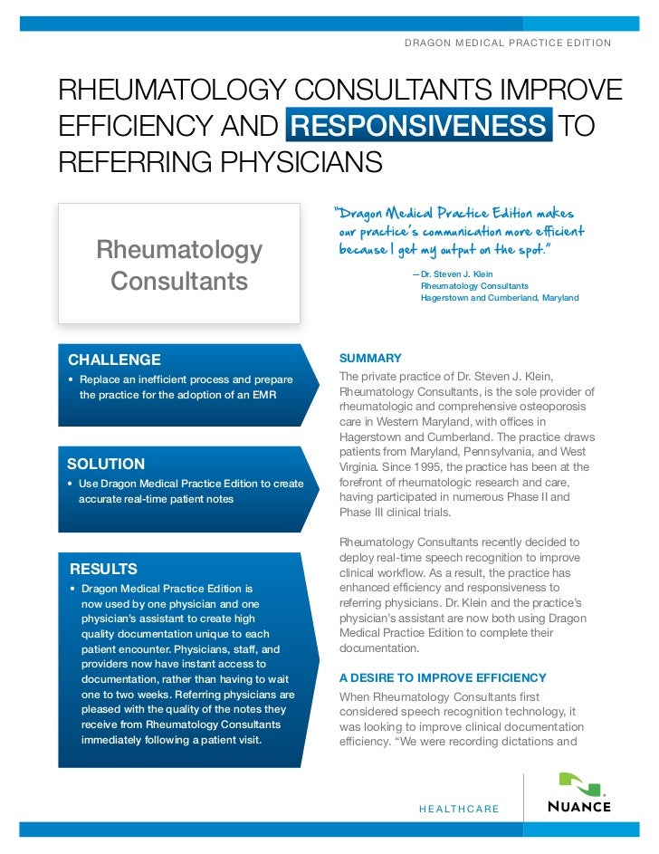 Rheumatology Consultants Improve Efficiency And Responsiveness To Referring Physicians
