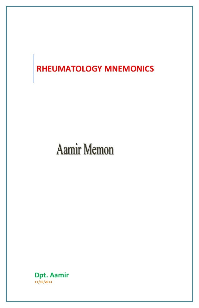 Rheumatology mnemonics