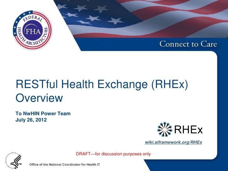 RESTful Health Exchange (RHEx)OverviewTo NwHIN Power TeamJuly 26, 2012                                                    ...