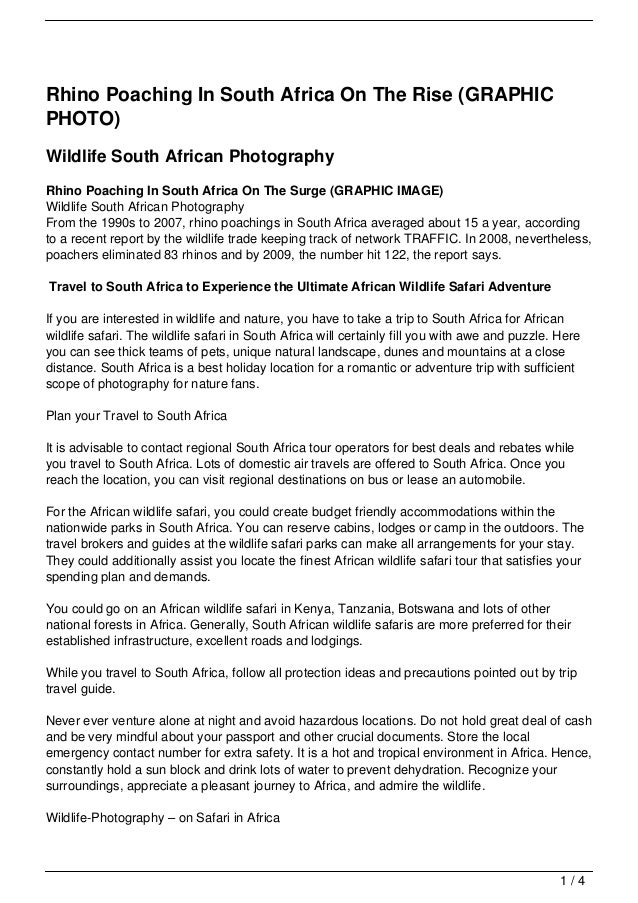 Rhino Poaching In South Africa On The Rise (GRAPHICPHOTO)Wildlife South African PhotographyRhino Poaching In South Africa ...