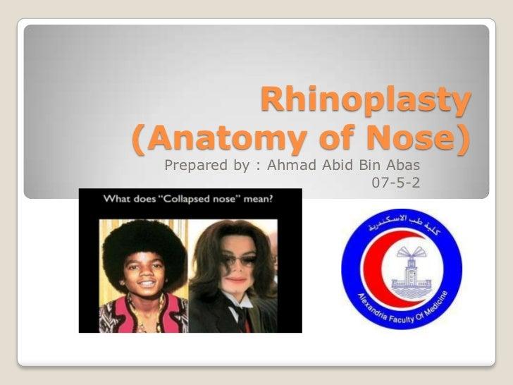 Rhinoplasty(Anatomy of Nose) Prepared by : Ahmad Abid Bin Abas                            07-5-2