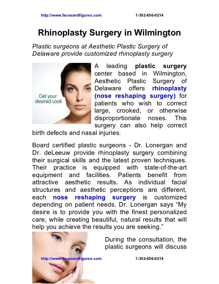 http://www.facesandfigures.com             1-302-656-0214  Rhinoplasty Surgery in WilmingtonPlastic surgeons at Aesthetic ...