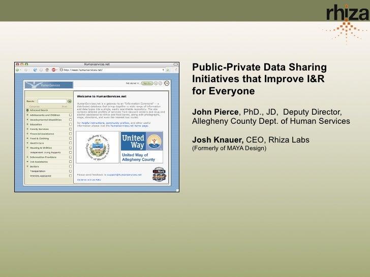 Public-Private Data Sharing Initiatives that Improve I&R for Everyone  John Pierce, PhD., JD, Deputy Director, Allegheny C...