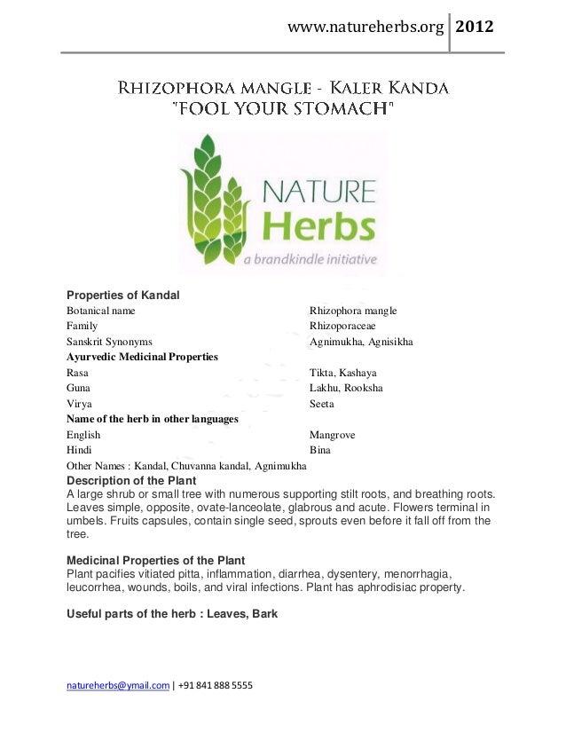 www.natureherbs.org 2012Properties of KandalBotanical name                                   Rhizophora mangleFamily      ...