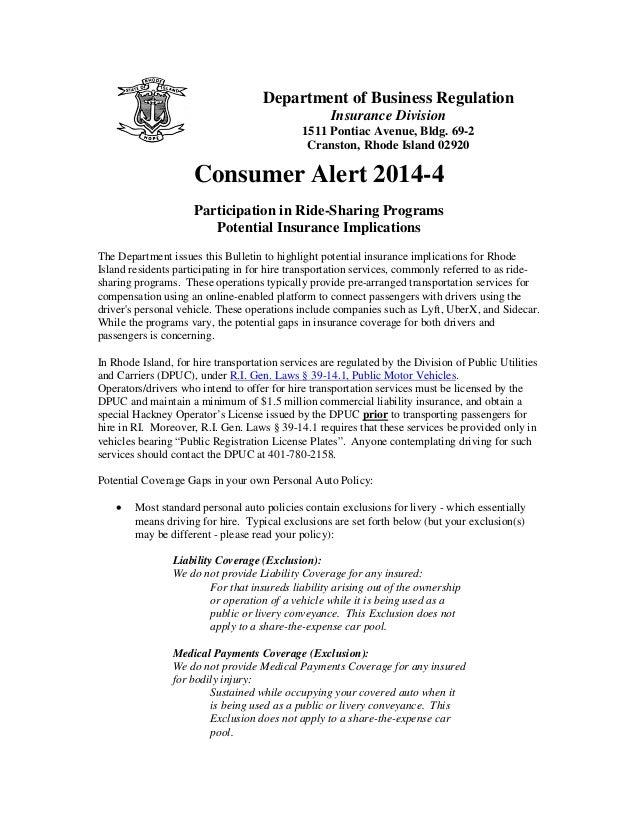 State insurance agency ridesharing warnings: Rhode island consumer alert