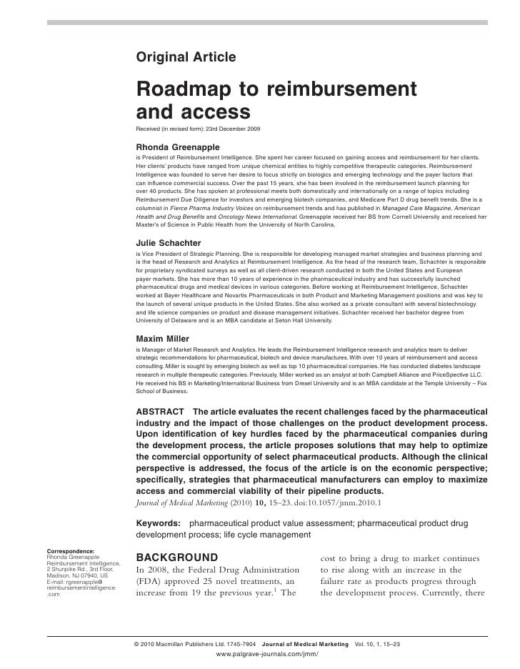 Roadmap to reimbursement and access