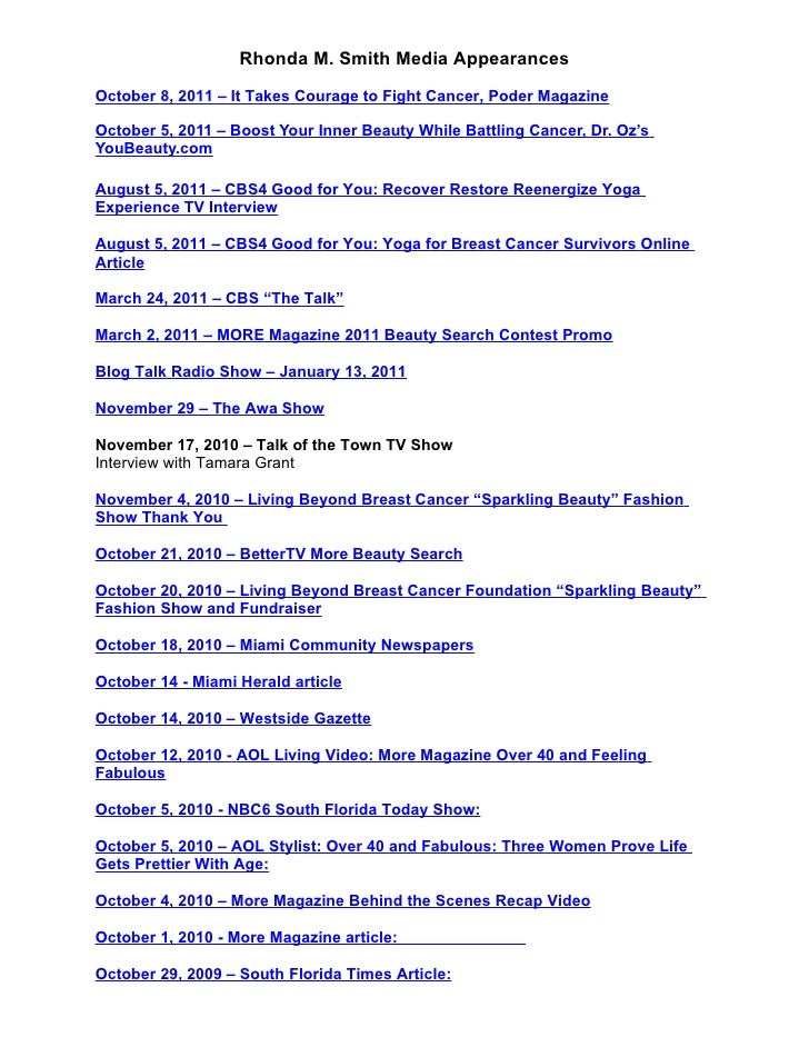 Rhonda Smith Media Appearnaces