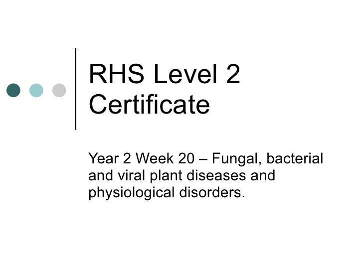 RHS Level 2 Certificate Year 2 Week 20 – Fungal, bacterial and viral plant diseases and physiological disorders.