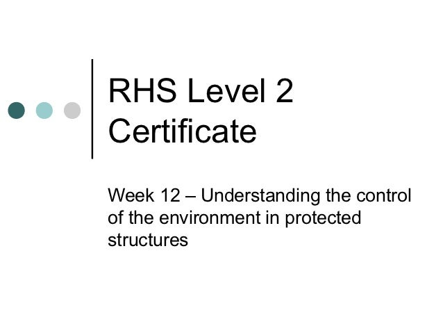 RHS Level 2CertificateWeek 12 – Understanding the controlof the environment in protectedstructures