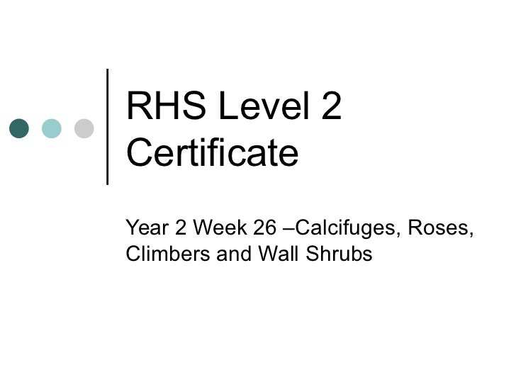 RHS Level 2 Certificate Year 2 Week 26 –Calcifuges, Roses, Climbers and Wall Shrubs