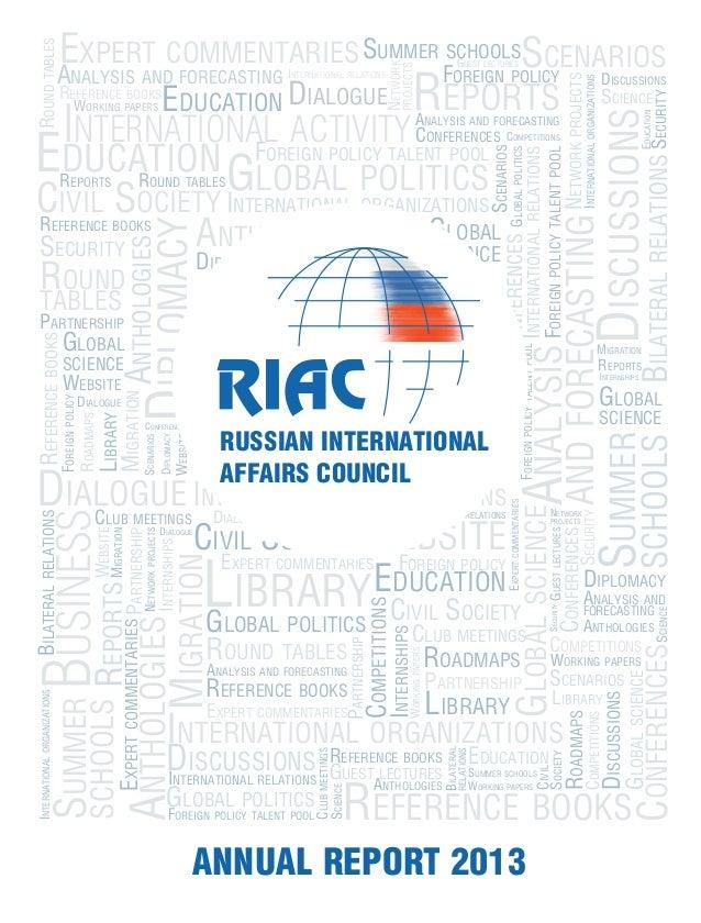 International activity Business Civil Society Education Analysis andforecasting Diplomacy Global politics International o...