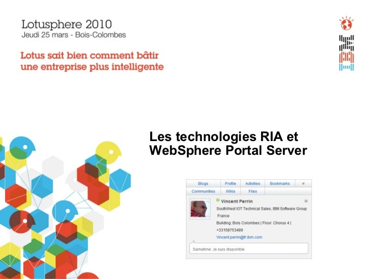 Les technologies RIA et  WebSphere Portal Server