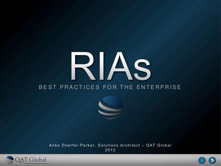 RIAs - Best Practices for the Enterprise