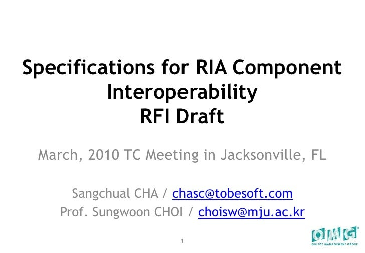 RIA WG - RIA Component Interoperability RFI Draft (2010 Mar. Tc)