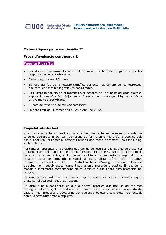 Matemàtiques per a la Multimèdia II - PAC 2 - Multimedia (UOC) - Paquita Ribas