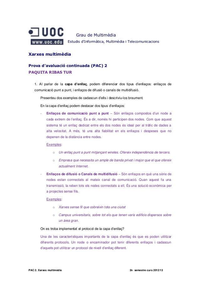 Xarxes Multimèdia - PAC 2 - Grau Multimèdia - UOC