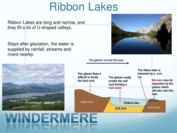 Ribbon LakesRibbon Lakes are long and narrow, andthey fill a lot of U-shaped valleys.Stays after glaciation, the water iss...