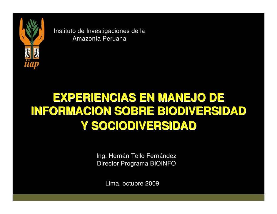 Experiencias en manejo de información en biodiversidad