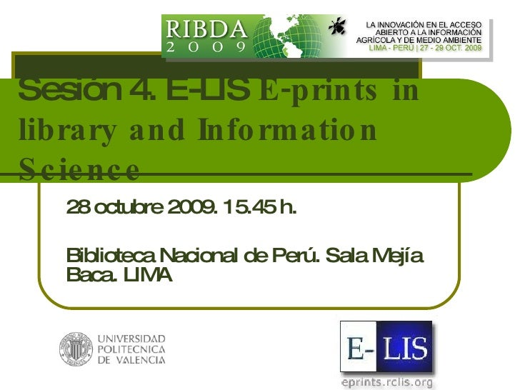 E-LIS E-prints in library and Information Science