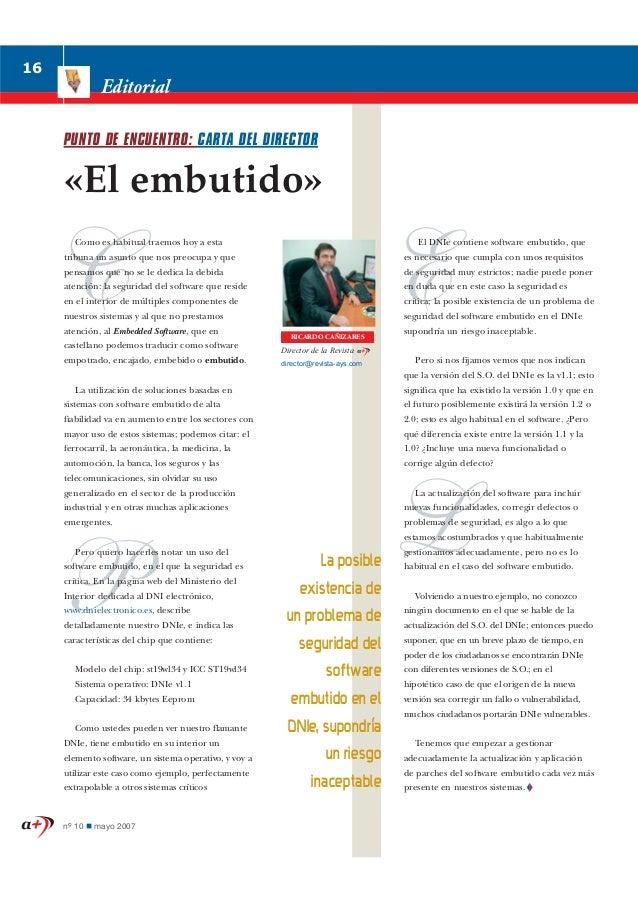 16               Editorial     PUNTO DE ENCUENTRO: CARTA DEL DIRECTOR     «El embutido»        Como es habitual traemos ho...