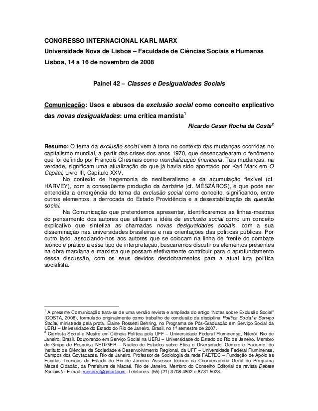 CONGRESSO INTERNACIONAL KARL MARX Universidade Nova de Lisboa – Faculdade de Ciências Sociais e Humanas Lisboa, 14 a 16 de...