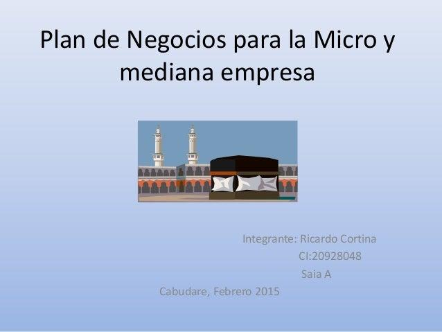 Plan de Negocios para la Micro y mediana empresa Integrante: Ricardo Cortina CI:20928048 Saia A Cabudare, Febrero 2015