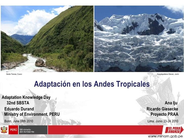 Adaptación en los Andes Tropicales Bonn, June 08th 2010  Lima, Junio 23-24 2010 Eduardo Durand  Ricardo Giesecke Ministry ...