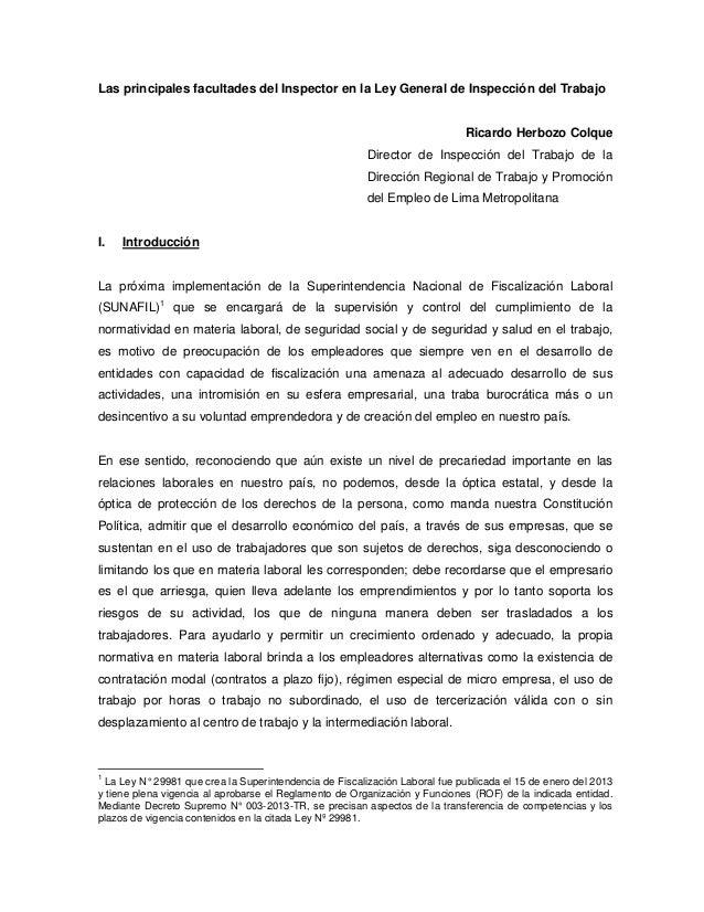 Las principales facultades del Inspector en la Ley General de Inspección del Trabajo Ricardo Herbozo Colque Director de In...
