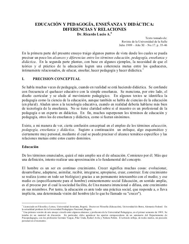 Ricardo lucio, enseñanza, pedagogía y didáctica