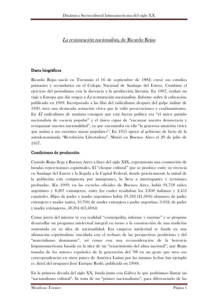 Dinámica Sociocultural latinoamericana del siglo XX                    La restauración nacionalista, de Ricardo RojasDatos...
