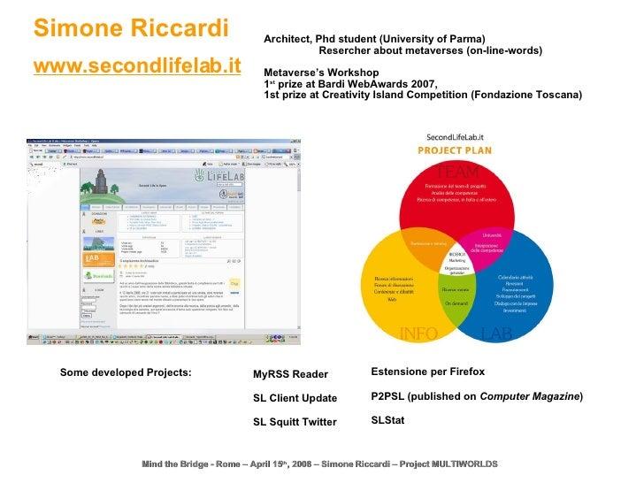 Mind the Bridge - Rome – April 15 th , 2008 – Simone Riccardi – Project MULTIWORLDS Simone Riccardi www.secondlifelab.it M...