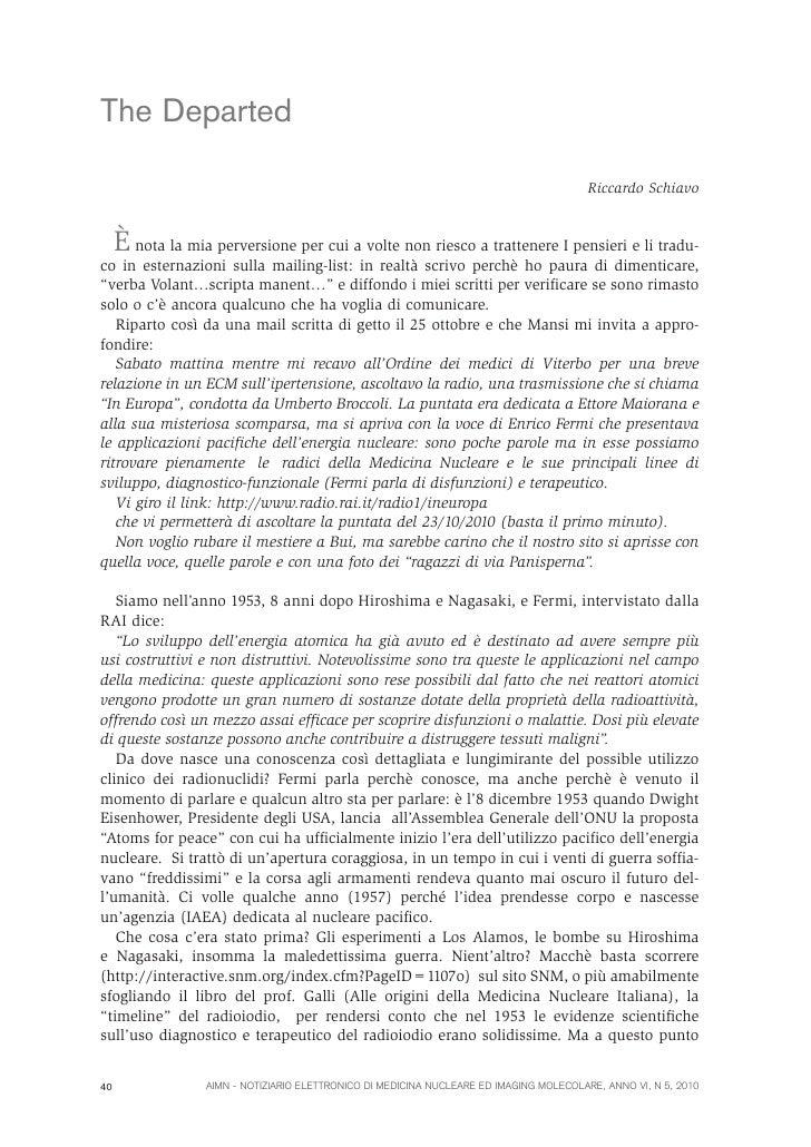 Un problema per la radioprotezione: la leucemia linfatica cronica                           G. Galli, G. TrentaThe Departe...