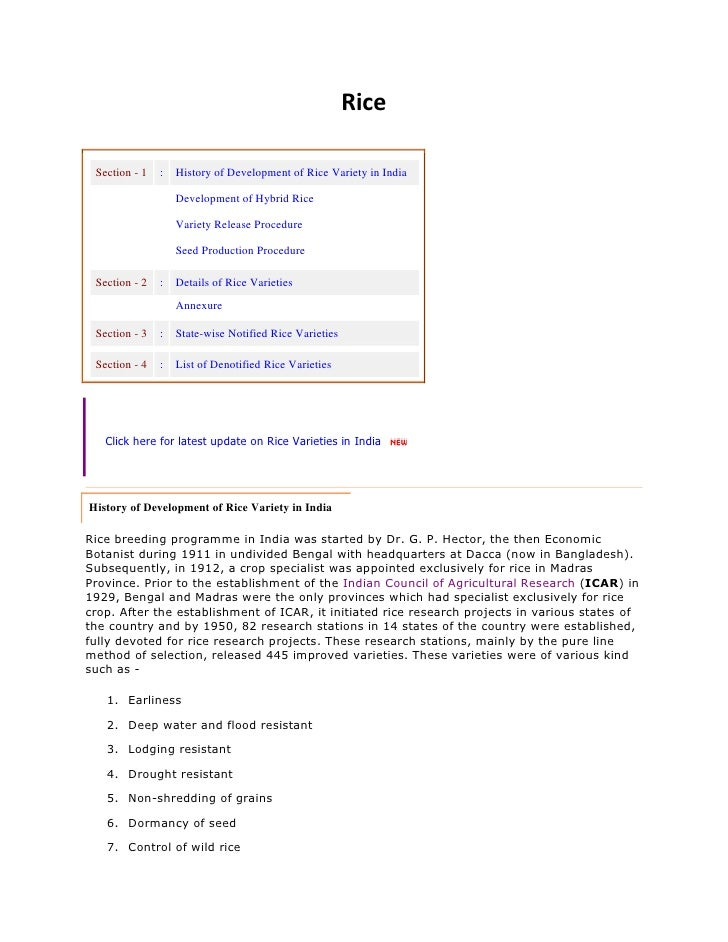 Rice<br /><br />Section-1:History of Development of Rice Variety in IndiaDevelopment of Hybrid RiceVariety Release Pr...